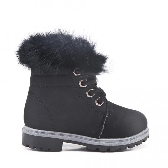 Black child boot with lace