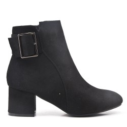 Black suede ankle boot with buckled bridle with heel