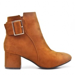 Camel suede ankle boot with buckled bridle with heel