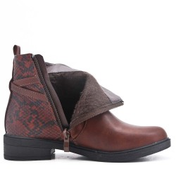 Brown ankle boot with snake pattern