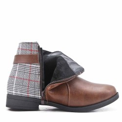 Brown ankle boot with check pattern