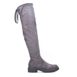 Botas a la rodilla de ante gris