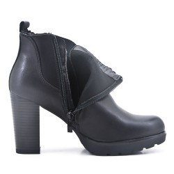 High heel leatherette ankle boots