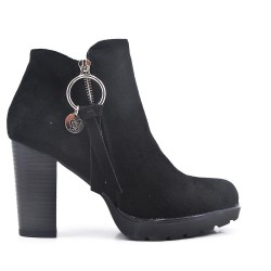 High heel ankle boot in faux suede
