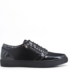 Lace-up black bi-material basket