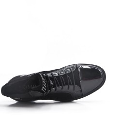 Basket bi-matières noire à lacet