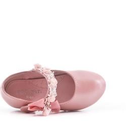 Bailarina de piel sintética para niña con moño