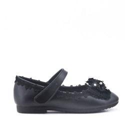 Girl's faux leather ballerina with bow