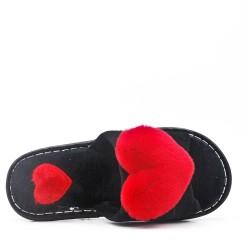 Winter fur slipper with heart
