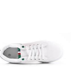 Basket à lacet blanche et verte