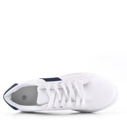 Basket à lacet blanche et bleu