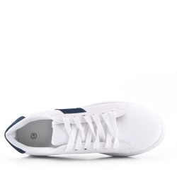 White and blue lace-up basket