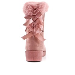 Furry pink fur boot with bow at the back