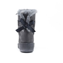 Bottine fourrée grise à nœud au dos