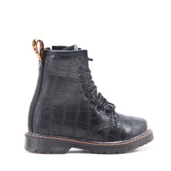 Black girl boot in imitation leather crocodile print with lace