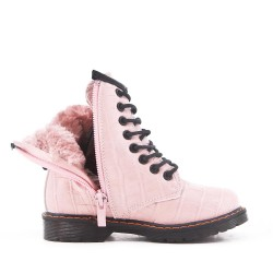 Pink girl boot in imitation leather crocodile print with lace