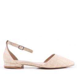 Faible talons sandales en simili cuir