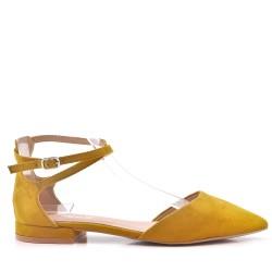 Faible talons sandales en simili daim