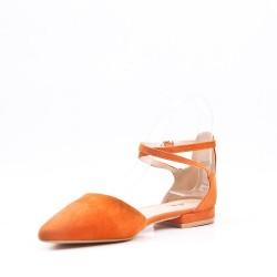 Sandalias de gamuza sintética de tacón bajo