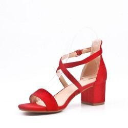 Faux suede mid-heel sandal