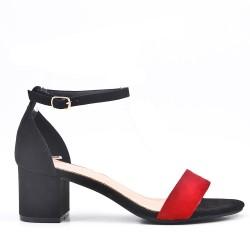Sandalia de tacón medio de ante sintético