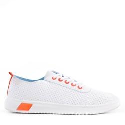 Women's faux leather lace-up tennis shoes