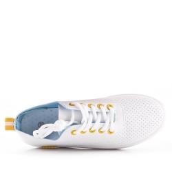 Tennis shoes à lacet en simili cuir pour femme