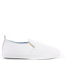 Women's tennis shoes faux leather without lace-up