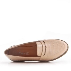 Women's oxford shoe without lace in synthetic leather