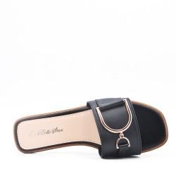 Faux leather slide sandals