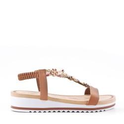 Sandalias sandalias planas para mujer en piel de imitación de cuero