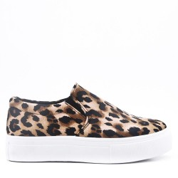 Women's faux leather without lace up sneaker