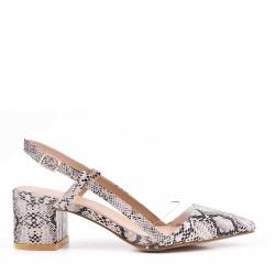 Sandale talon moyen en simili cuir