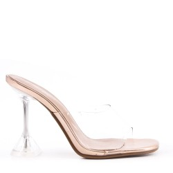 Heeled sandal in a material mix for women