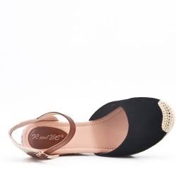 Sandale à talon compensé en simili daim pour femme