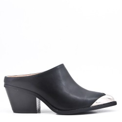Faux leather women's heeled mules