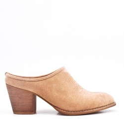 Faux suede women's heeled mules
