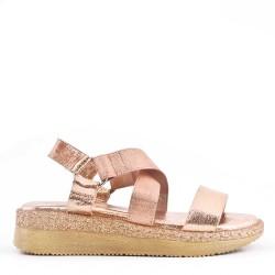 Sandale plat en mix matière pour femme