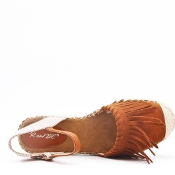 Flat sandals in a material mix for women