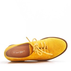 Women's oxford shoe with lace in synthetic leather