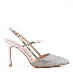 Sandale à talon en mix matière pour femme