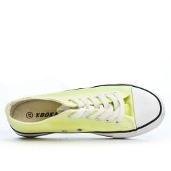 Tennis à lacet en toile jaune