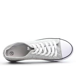 Tennis à lacet en toile grise