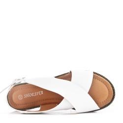 Sandale plat en en simili cuir pour femme