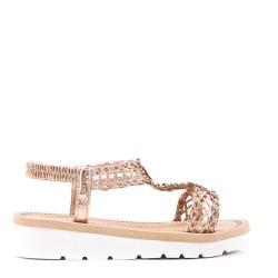 Sandales tongs plates pour femme en cuir en simili cuir