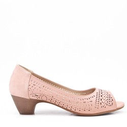 Mid-heel pumps in a material mix for women