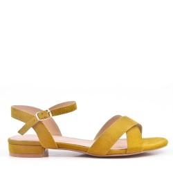 Sandale plat en en simili daim pour femme