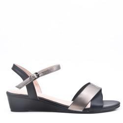 Faux leather mid-heel sandal