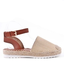 Sandal with espadrille sole in mixed materials