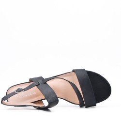 Large size flat faux leather sandal for women